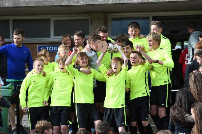 CUP KINGS: Prestwick Academy celebrate their Schools Cup final triumph.