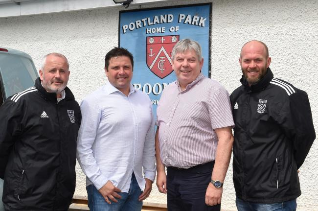 MANAGEMENT TEAM: Pictured (from left) at Portland Park are  assistant boss Matt Maley, manager Jim Kirkwood,  General Manager John Redmond and coach Neil McGowan.
