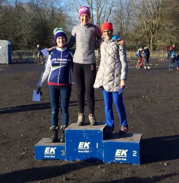 AYRSHIRE FIRST: Aileen Fisher is pictured (left) on the podium with winner Elizabeth Clayton and runner-up Lindsay Branston.