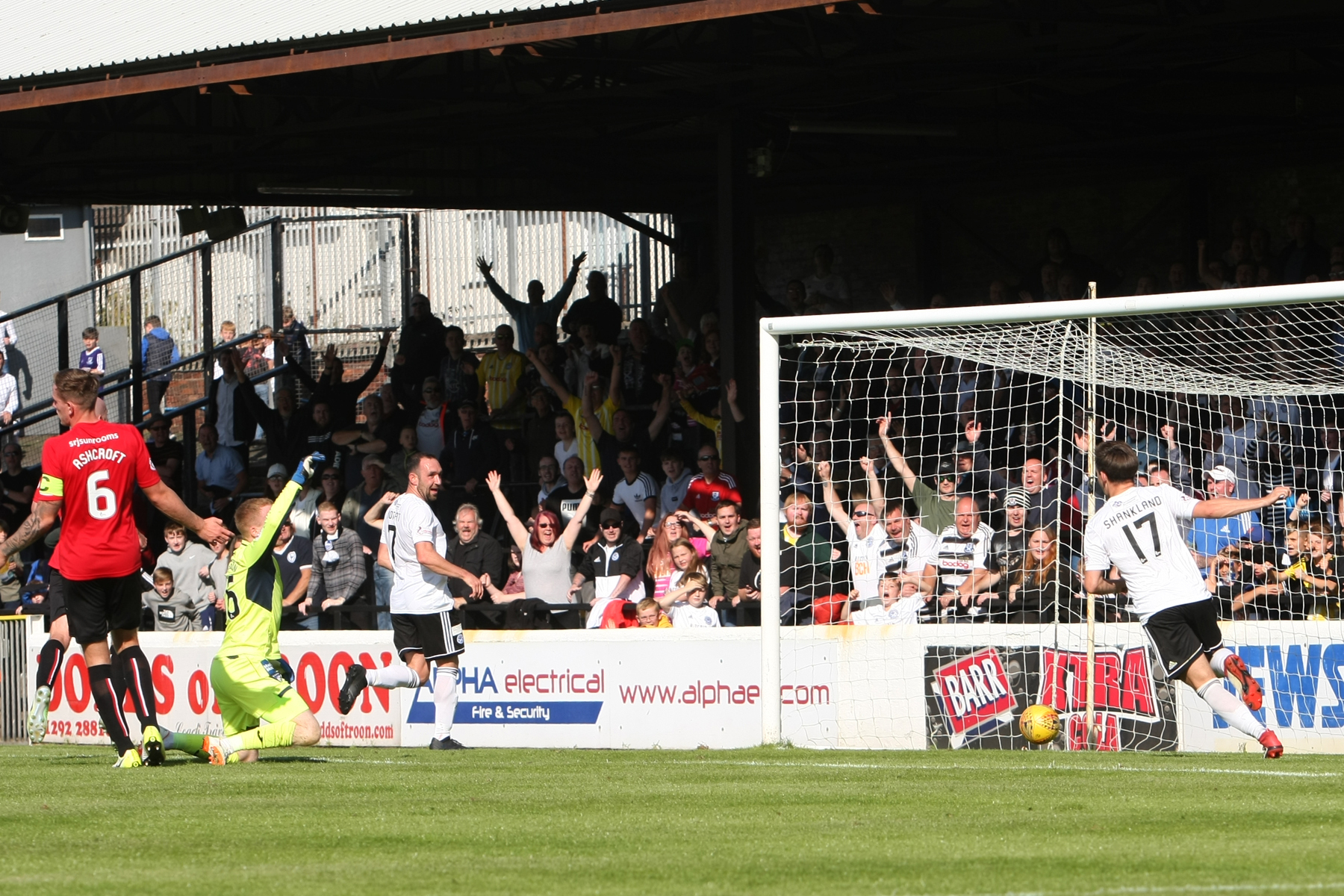 GOING FOURTH: Michael Moffat nets goal number four for Ayr United. Picture: David Sargent.