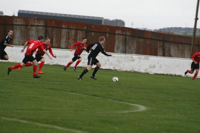 PUSHING FORWARD: Annbank go on the attack.