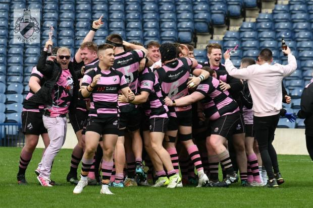 Jubilant Ayr Rugby Club celebrate. Picture: George McMillan.