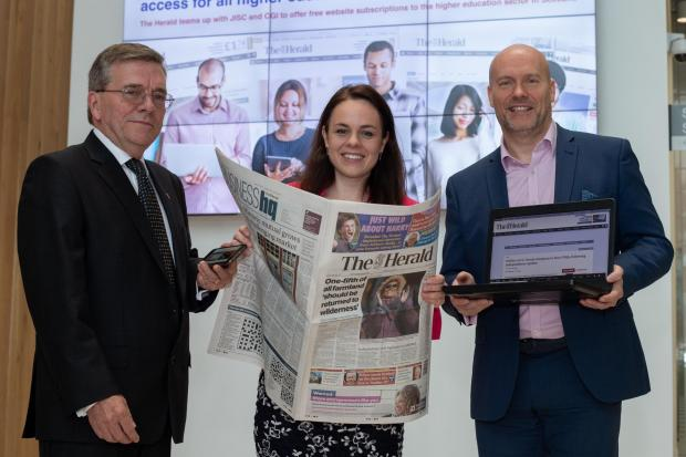 Steve Smart, Senior Vice President for CGI Scotland with Kate Forbes, Scotland's Minister for Public Finance and Digital Economy and Donald Martin, editor in chief of The Herald.